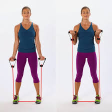 Two Arm Stretch Band Curl