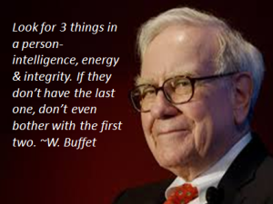 Warren Buffet 3 Things in a person