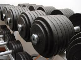 dumbells on a rack