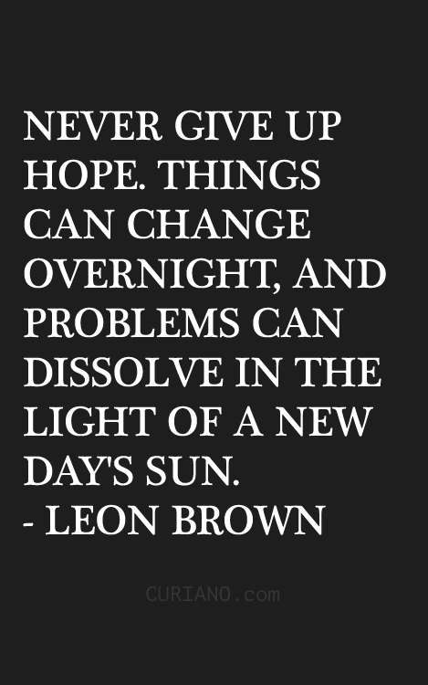 leon brown never give up hope